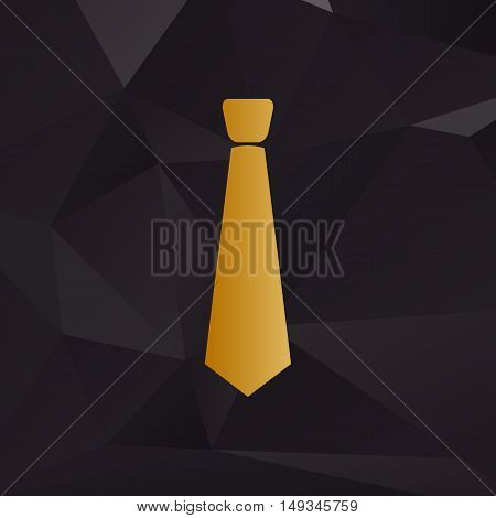 Tie Sign Illustration. Golden Style On Background With Polygons.