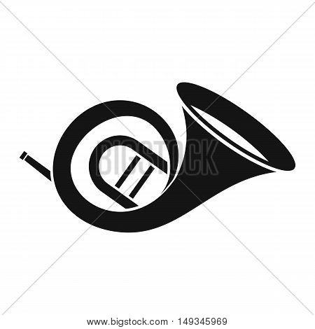 French horn icon in simple style on a white background vector illustration