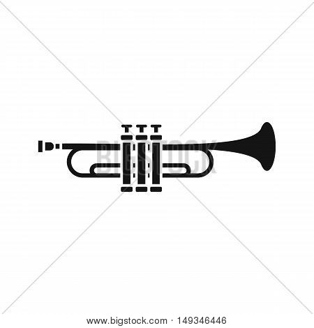 Brass trumpet icon in simple style on a white background vector illustration