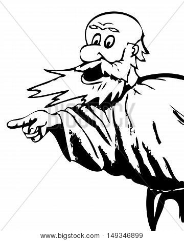 The bearded man in anger, pointing his finger. Caricature