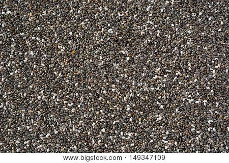 Superfood chia seeds background. Overhead and horizontal photo