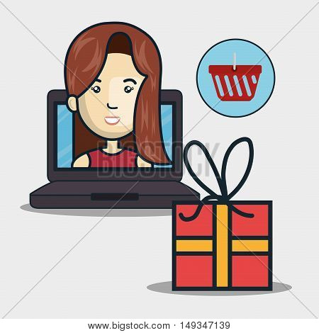avatar woman on laptop computer screen with gift box and red basket. shopping online theme. vector illustration