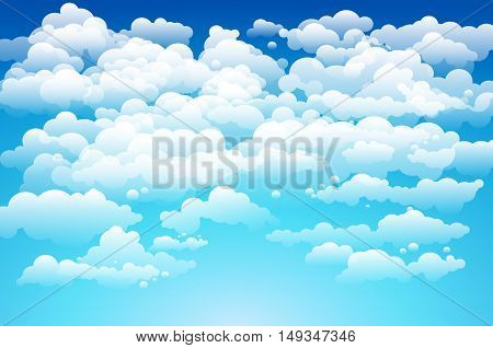 Editable Vector Illustration Of Light Clouds In A Blue Sky Made Using A Gradient