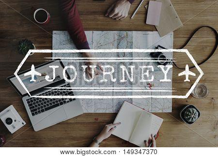 Journey Explore Travel Trek Trip Tour Graphic Concept