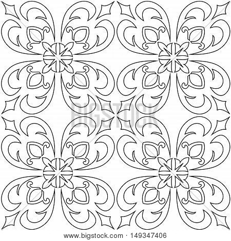 Black and white vector seamless pattern background. For coloring pages decoration page fill and more.