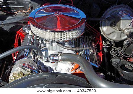 American classic car hot rod engine mechanical view