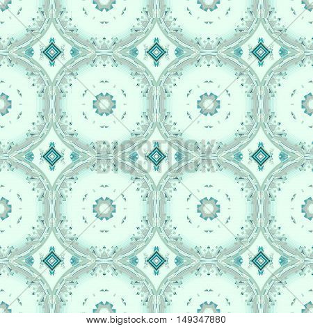 Abstract geometric seamless retro background. Regular circles and diamond pattern in pale green and light gray shades, ornate and dreamy.