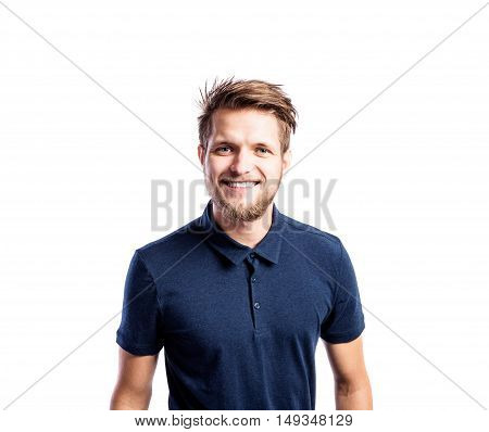 Hipster man in blue t-shirt, studio shot on white background, isolated