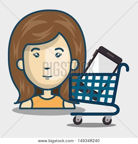 avatar woman and supermarket trolley and smartphone inside. shopping online theme. vector illustration