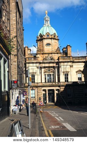 EDINBURGH-SEPTEMBER 22, 2016: The beautiful historic architecture of the Bank of Scotland is seen in Edinburgh Scotland Europe on September 22 2016.