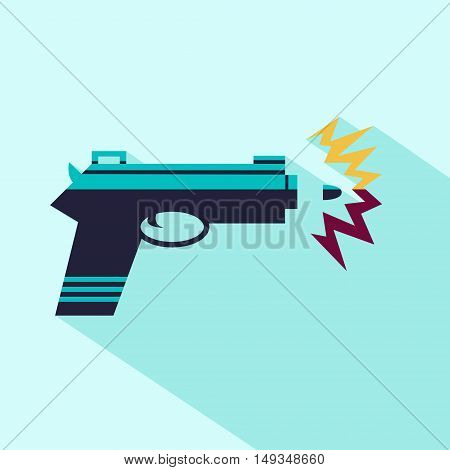 Vector flat gun icon. Isolated colored gun icon for logo web site design app UI. Flat blue weapon illustration for posters cards book cover flyers banner web game designs.