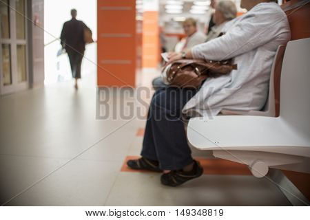 close up on Chairs for patient and visitor in hospital defocused people