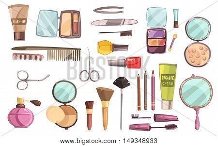 Flat set of decorative cosmetics for makeup  tools for manicure perfume and brushes isolated vector illustration