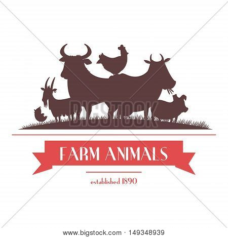 Farm shop signboard or label two-color design with livestock animals and chickens silhouettes abstract vector illustration