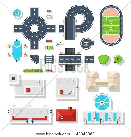Top view set of city elements like various road junctions vehicles  plants and different buildings isolated vector illustrations