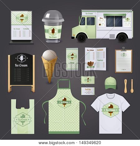 Ice cream corporate realistic design set with menu uniform and package isolated vector illustration