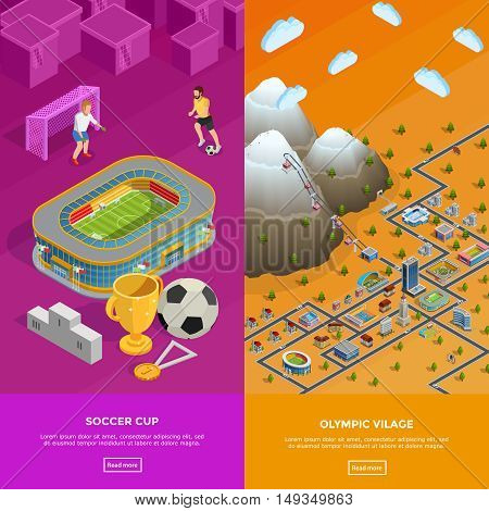 Olympic village park birds eye view and football cup soccer stadium 2 colorful isometric banners isolated vector illustration