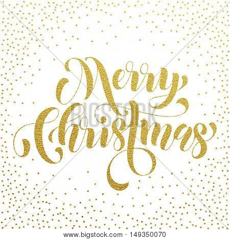 Merry Christmas modern lettering design. Xmas greeting holiday card with golden pattern decoration. Vector hand drawn festive text for banner, poster, invitation on white background.