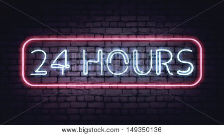 Neon 24 HOURS sign on a white brick wall. Illustration.
