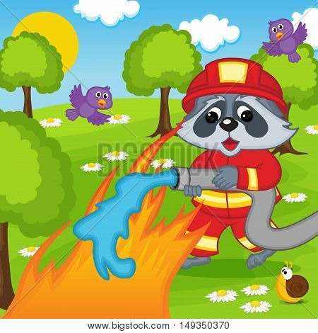raccoon firefighter extinguishes fire in forest - vector illustration, eps
