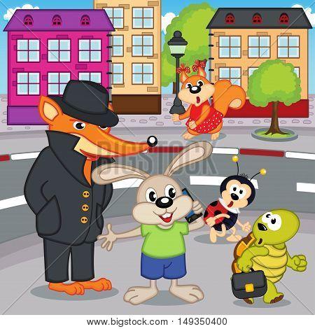 fox gangster in city - vector illustration, eps