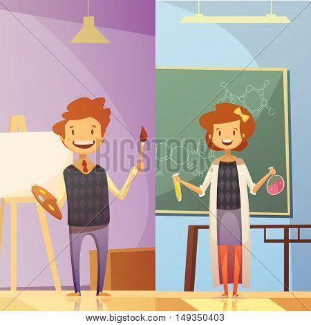 Primary and middle school classrooms with smiling kids 2 vertical cartoon style education banners isolated vector illustration