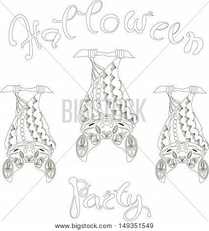 Lettering Halloween Party, floral bats, coloring page anti-stress vector illustration