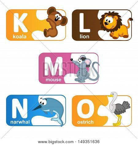 stickers alphabet animals from K to O - vector illustration, eps