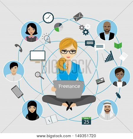Woman sitting with laptop, internet work, connecting people. Applications and icons. Vector illustration