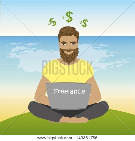 Freelancer or hipster sitting on the beach in lotus pose and works , vector illustration