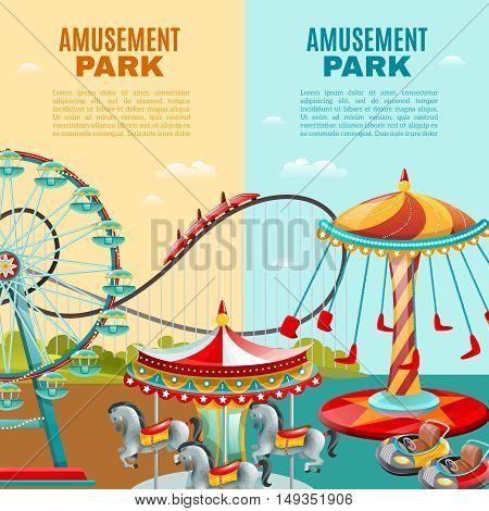 Amusement park cartoon vertical banners roller coaster ferris wheel and carousel flat vector illustration