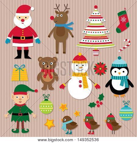 Christmas design elements set, Santa, deer, elf, Christmas tree