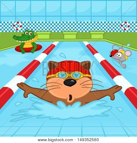 animals in pool - vector illustration, eps
