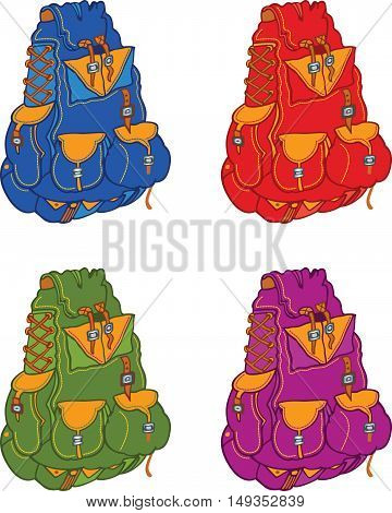 Set of travel backpacks, vector color illustrations