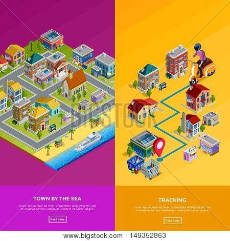 Isometric city banners with town by sea and delivery to house isolated vector illustration