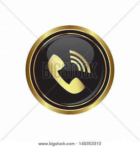 Telephone receiver icon on the button. Vector illustration