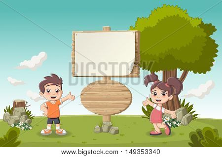 Wooden sign on colorful park with cartoon children