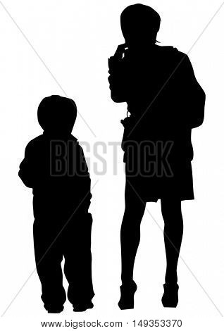 Mother and son on white background
