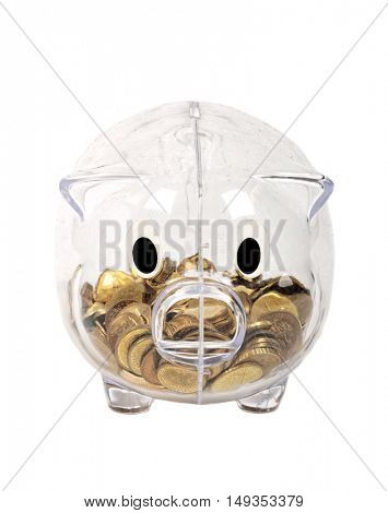 Transparent Piggy Bank isolated on white background