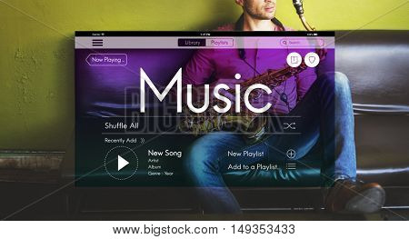 Music Streaming Instrumental Playlist Podcast Concept
