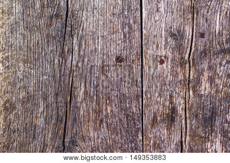 Rustic wooden surface with rusty nails top view