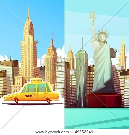 New york two vertical banners in cartoon style with manhattan landmarks skylines yellow taxi car flat vector illustration