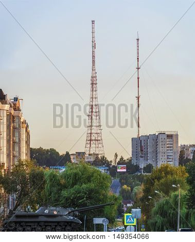 View of the TV towers of city Belgorod. Tanks memorial.