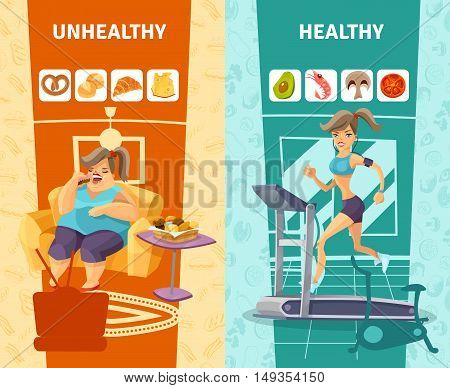 Healthy and unhealthy woman vertical banners set cartoon isolated vector illustration