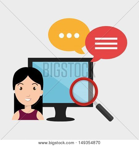 avatar woman and monitor computer with  magnifying glass and speech bubbles icon silhouette. vector illustration