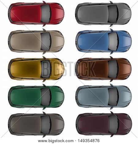 Set of Top view cars in different colors 3D illustration