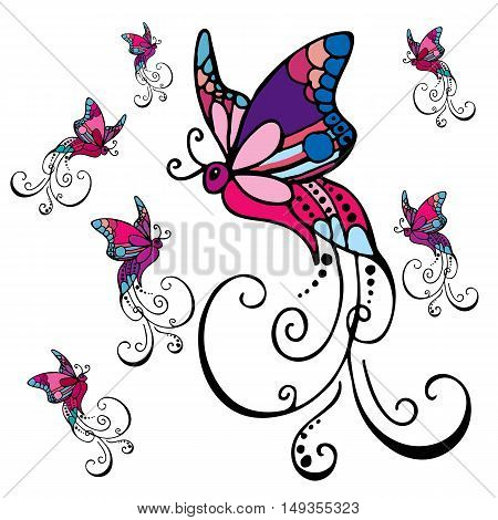 Colorful butterflies flying in different directions on white background