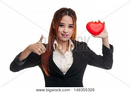 Asian Business Woman Thumbs Up With Red Heart.