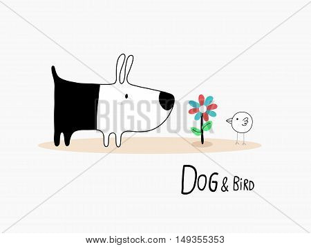 Dog & Bird with a flower character design for decoration. Vector illustration.