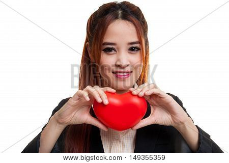Asian Business Woman With Red Heart.